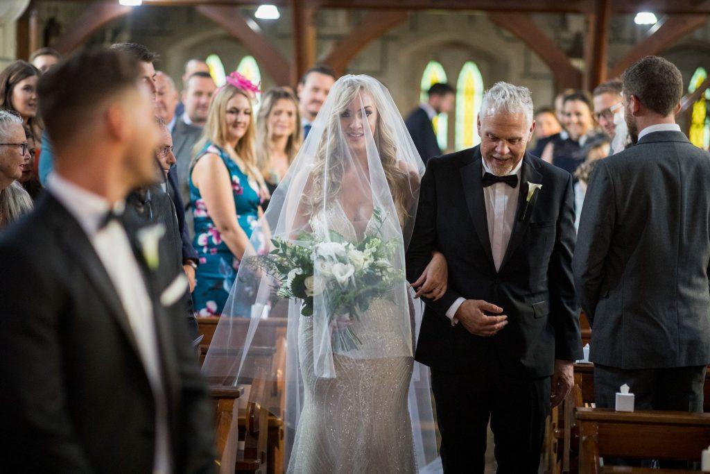 bride father of bride walk down aisle st marys catholic church husbands bosworth leicestershire oxford wedding photographer