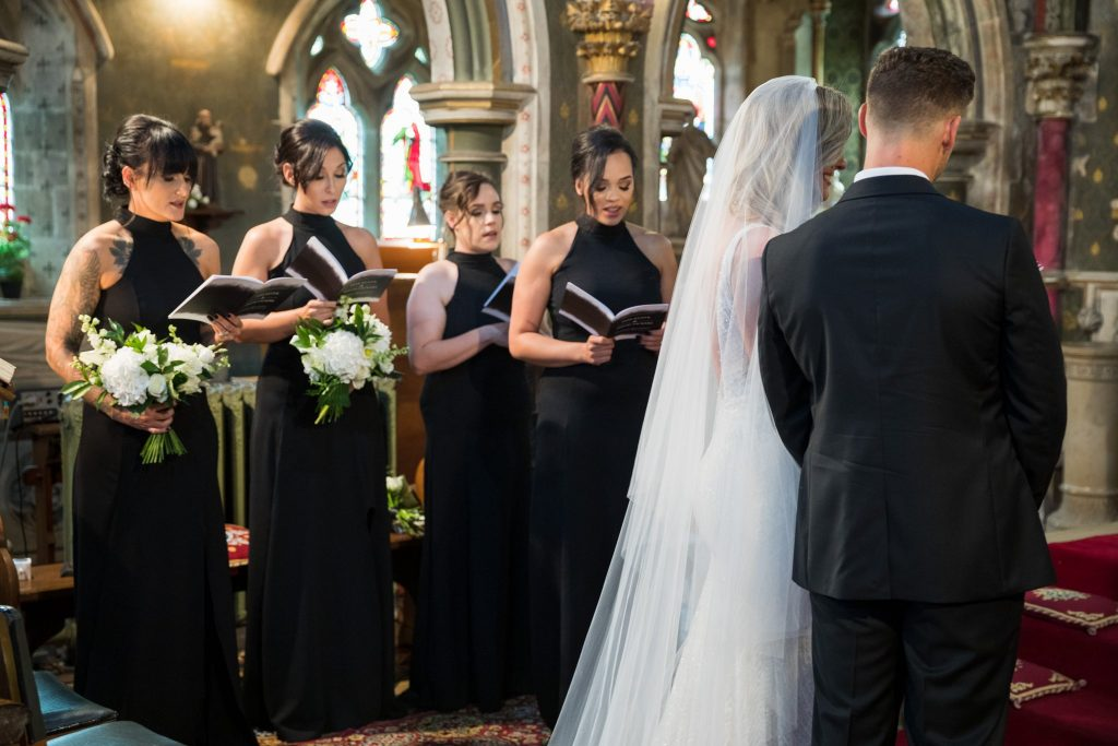 bridesmaids sing st marys catholic church husbands bosworth leicestershire oxfordshire wedding photographer
