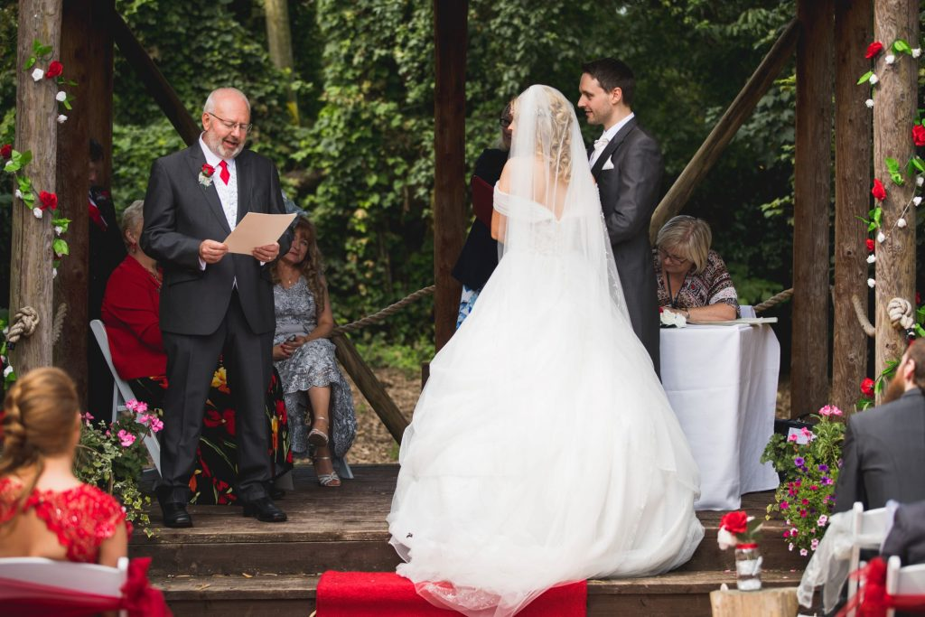 father of grooms reading woodland ceremony wroxeter hotel shrewsbury shropshire oxford wedding photographer