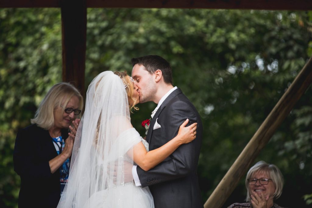 bride groom first kiss woodland ceremony wroxeter hotel shrewsbury shropshire oxford wedding photographers