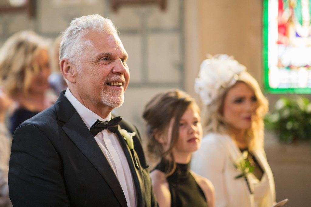 smiling father of bride st marys catholic church marriage ceremony husbands bosworth leicestershire oxfordshire wedding photography