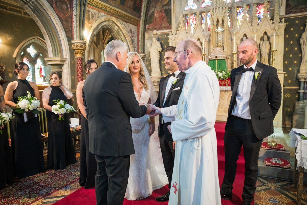 priest bridal party st marys catholic church alter husbands bosworth leicestershire oxford wedding photographers