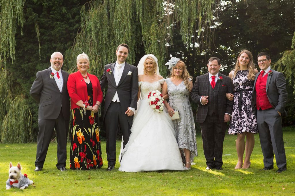 bridal party formal portrait wroxeter hotel shrewsbury shropshire oxford wedding photographer