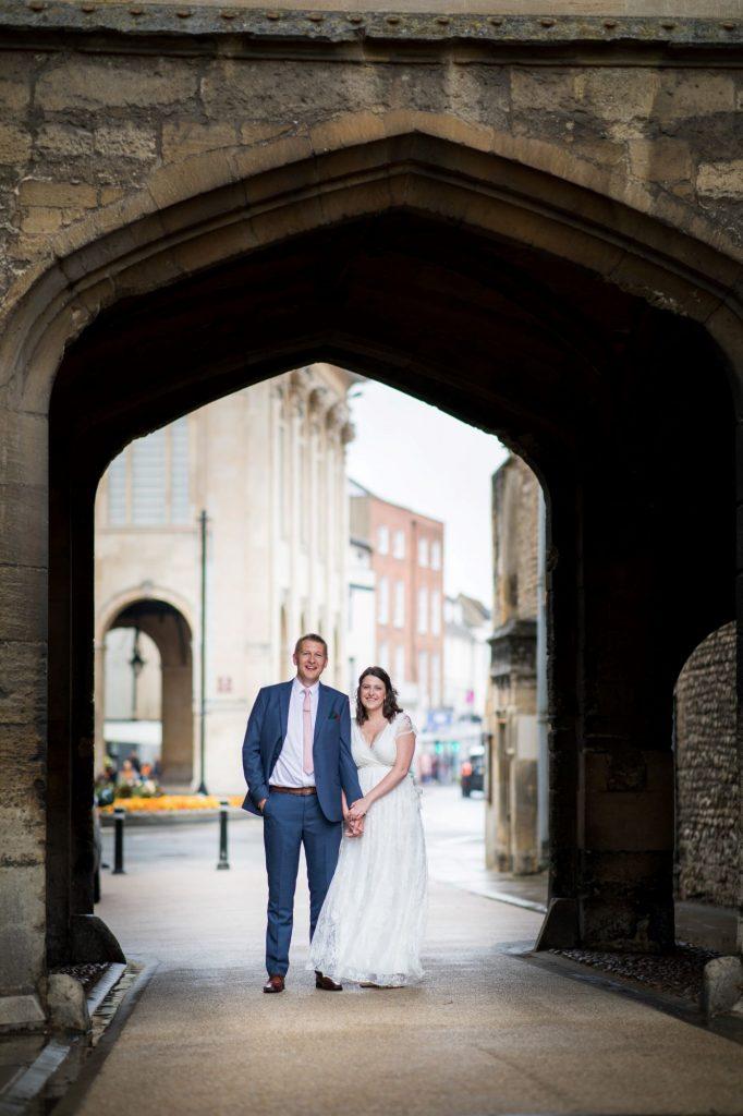 bride groom archway portrait abingdon registry office ceremony roysse court oxford wedding photographers