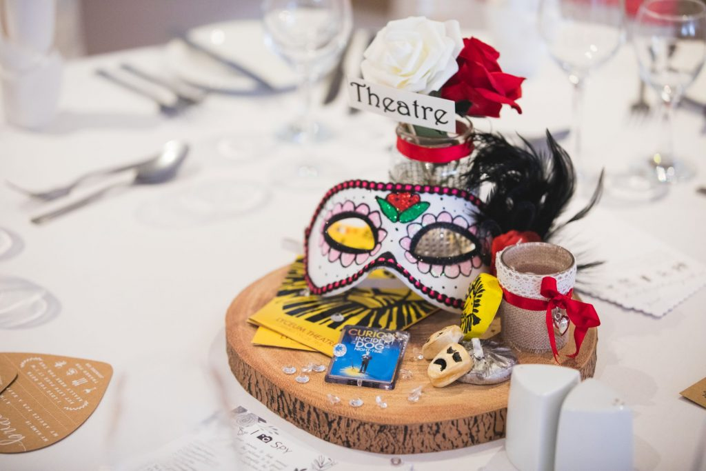 theatrical theme table decoration wroxeter hotel dinner reception shrewsbury shropshire oxford wedding photographers