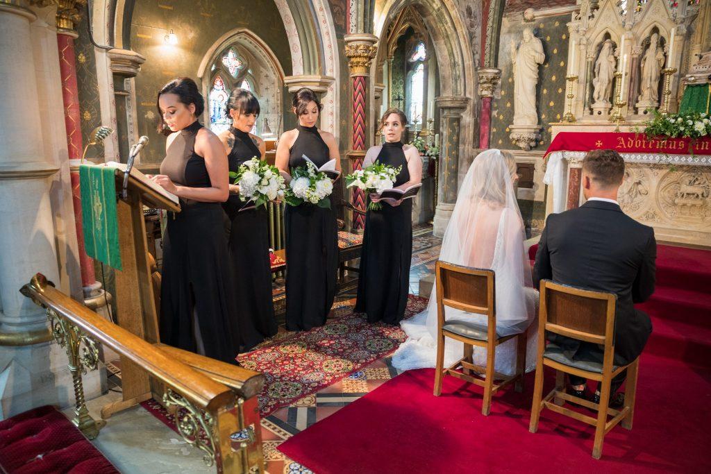 bridesmaid gives reading marriage ceremony st marys catholic church husbands bosworth leicestershire oxford wedding photographers