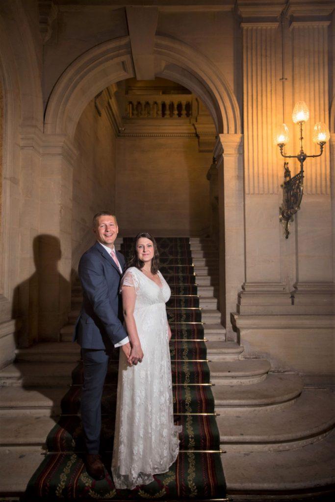 bride groom staircase portait heythrop park resort hotel chipping norton oxfordshire wedding photography