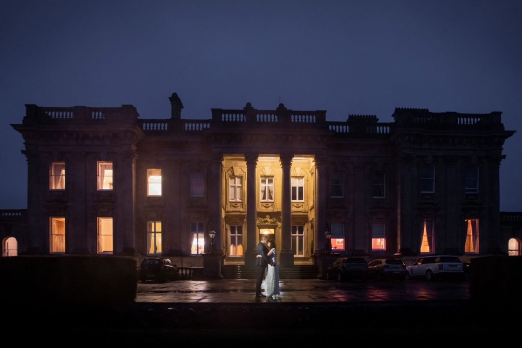 bride groom night portrait heythrop park resort hotel chipping norton oxfordshire oxford wedding photographer