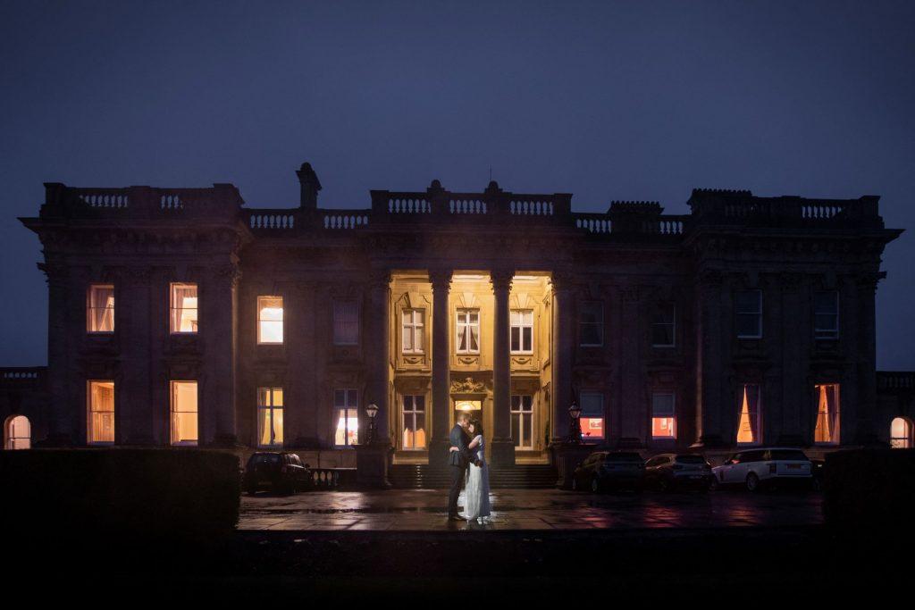 bride groom night portrait heythrop park resort hotel chipping norton oxfordshire oxford wedding photographer