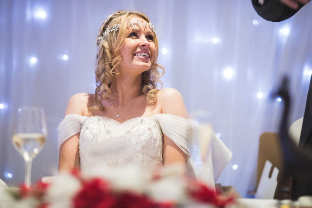 bride hears grooms speech wroxeter hotel shrewsbury shropshire oxfordshire wedding photographer