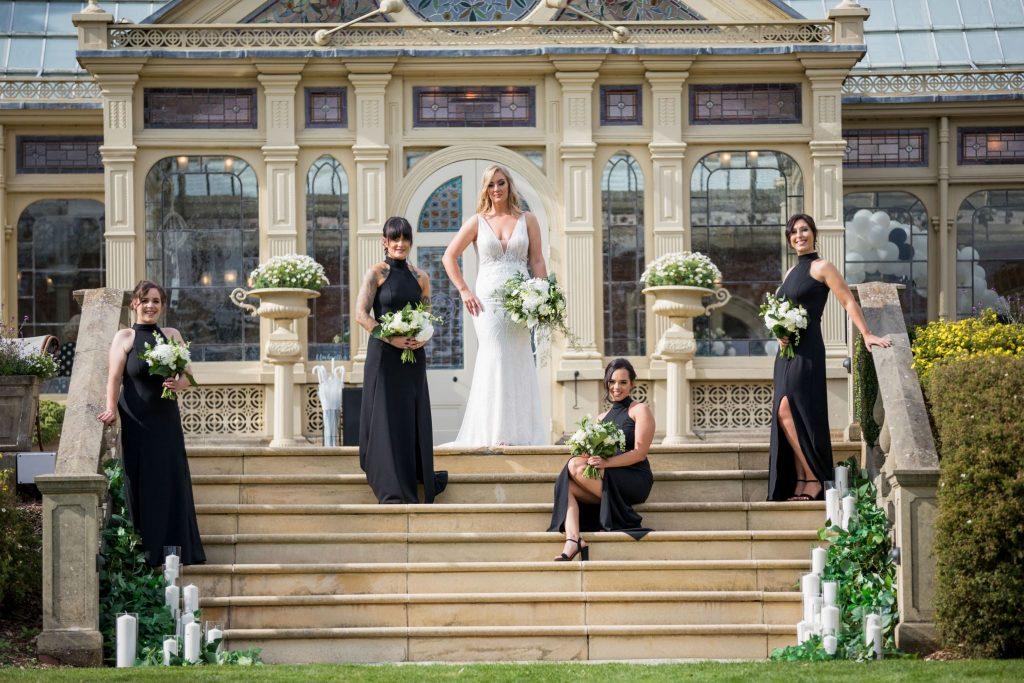 bride bridesmaids orangery steps kilworth house hotel north kilworth leicestershire oxfordshire wedding photography