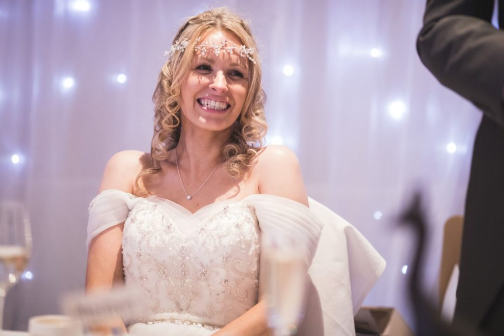 bride hears grooms speech wroxeter hotel venue shrewsbury oxfordshire wedding photographer