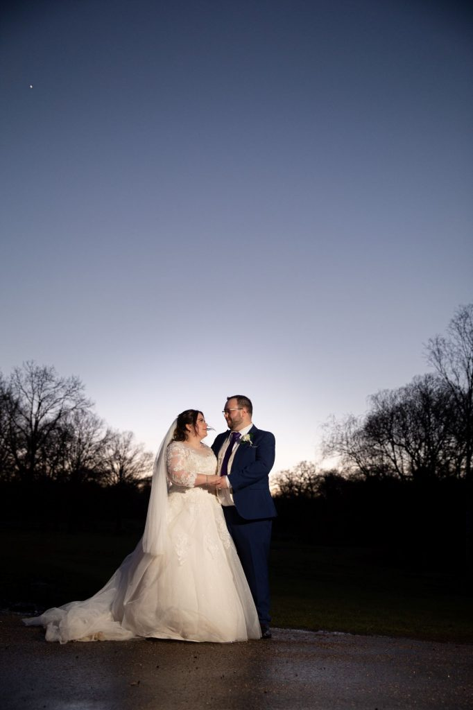 bride grooms twilight portrait near your club windsor great park berkshire oxford wedding photographer