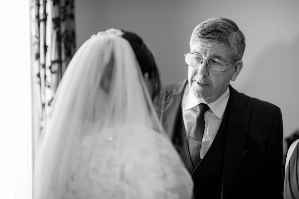 bride father of bride before marriage ceremony royal chapel windsor great park oxfordshire wedding photographer