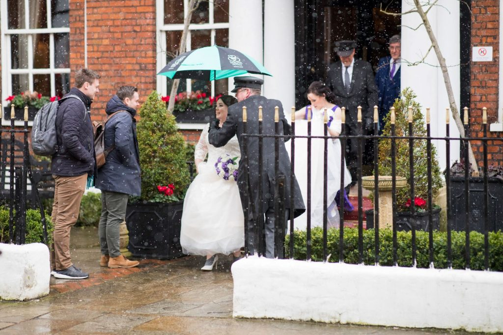 bridal party depart for marriage ceremony royal chapel windsor great park berkshire oxford wedding photographers