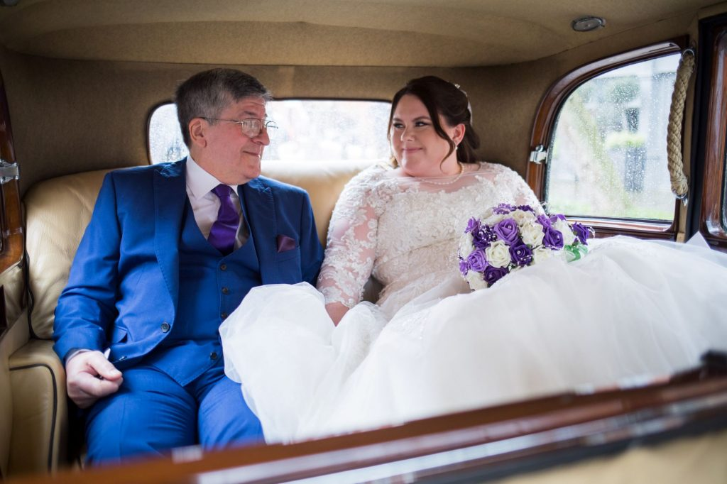 smiling bride father of bride travel to royal chapel windsor great park berkshire oxfordshire wedding photographers