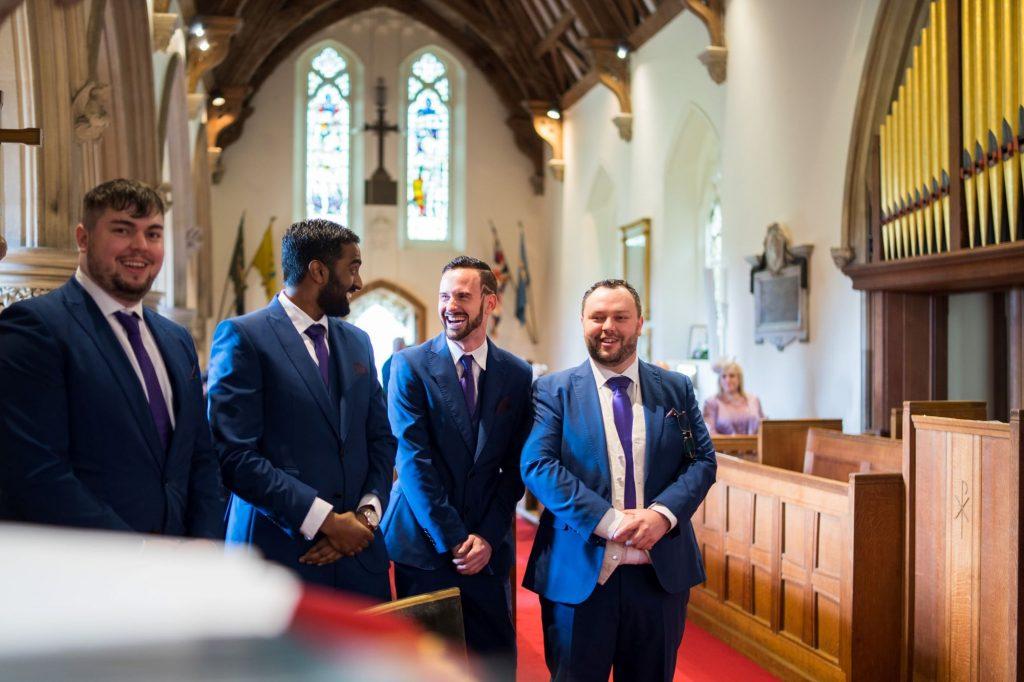 groom bestman groomen await bride royal chapel windsor great park berkshire oxford wedding photography