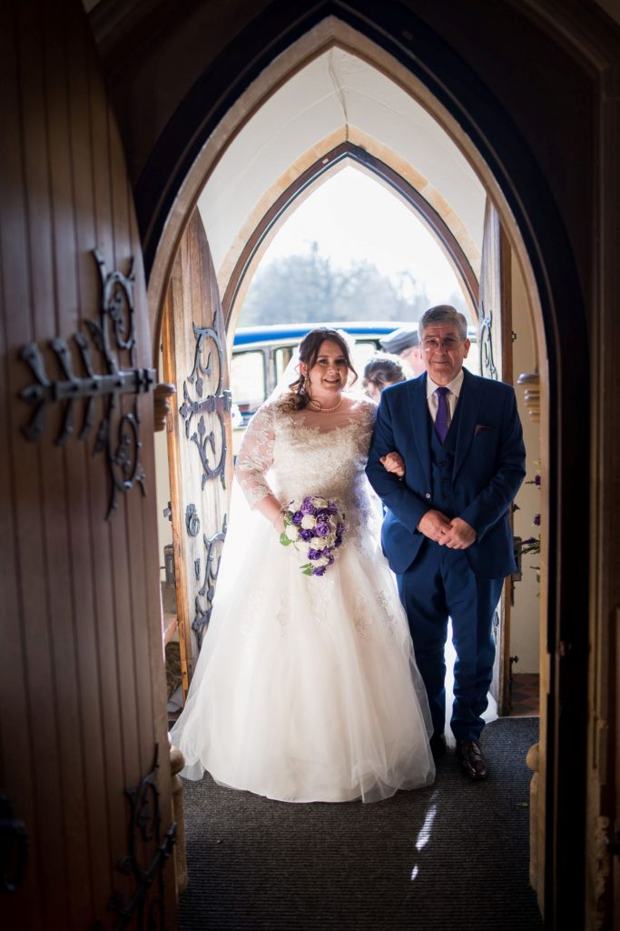 bride father of bride enter royal chapel windsor great park berkshire oxford wedding photographers