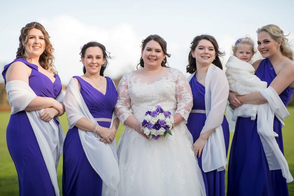 smiling bride bridesmaids royal chapel marriage ceremony windsor great park berkshire oxfordshire wedding photographers
