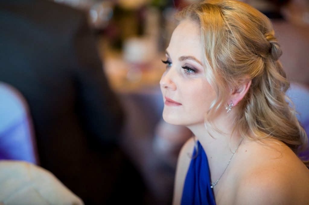 thoughtul bridesmaid hears top table speech york club reception windsor great park berkshire oxfordshire wedding photography