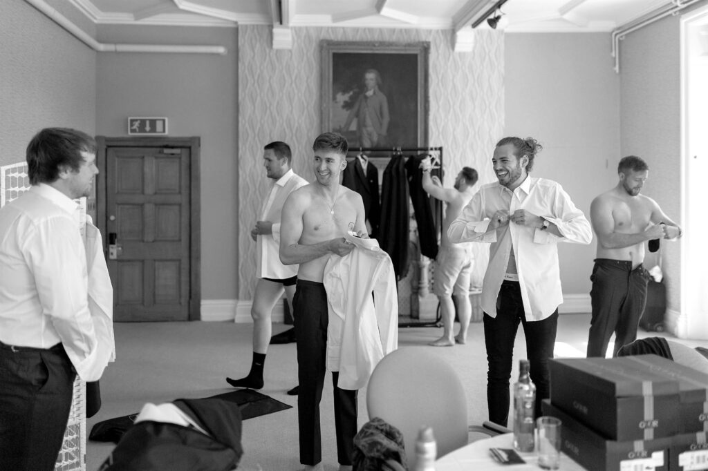 groom bestman groomsmen preparation the elvetham hartley wintney hampshire oxford wedding photographers
