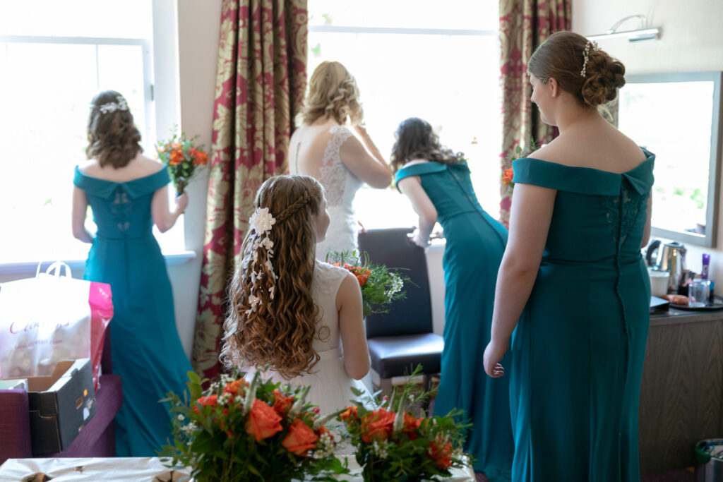 bride bridesmaids flower girl bridal preparation ardencote luxury venue warwickshire oxford wedding photographers
