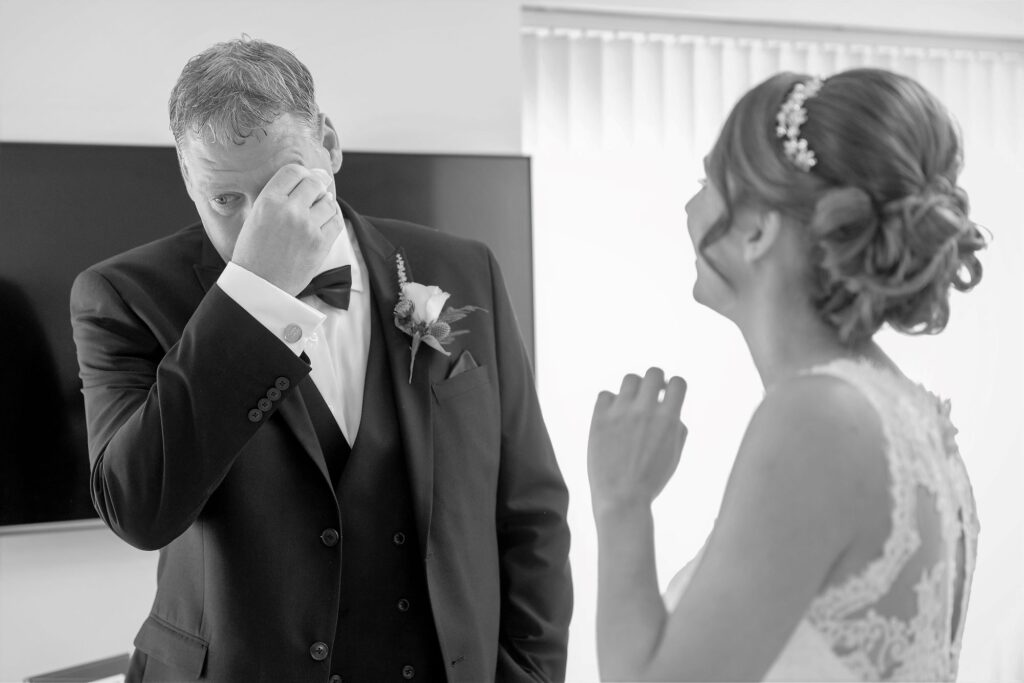father of bride emotive first look abingdon oxfordshire s r urwin wedding photography