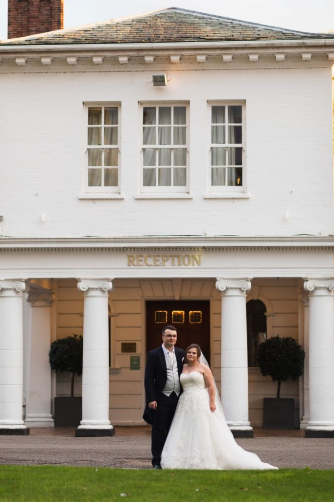 bride groom formal portrait milton hill house reception entrance steventon oxfordshire wedding photographer
