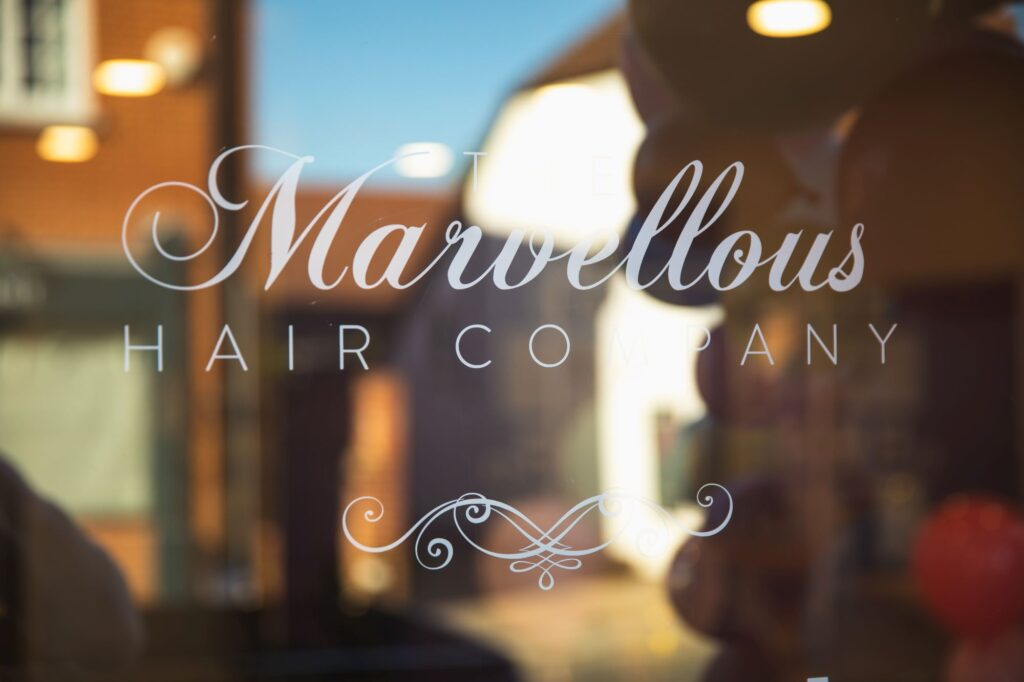 marvellous hair company signage bridal prep goring reading oxfordshire wedding photographer