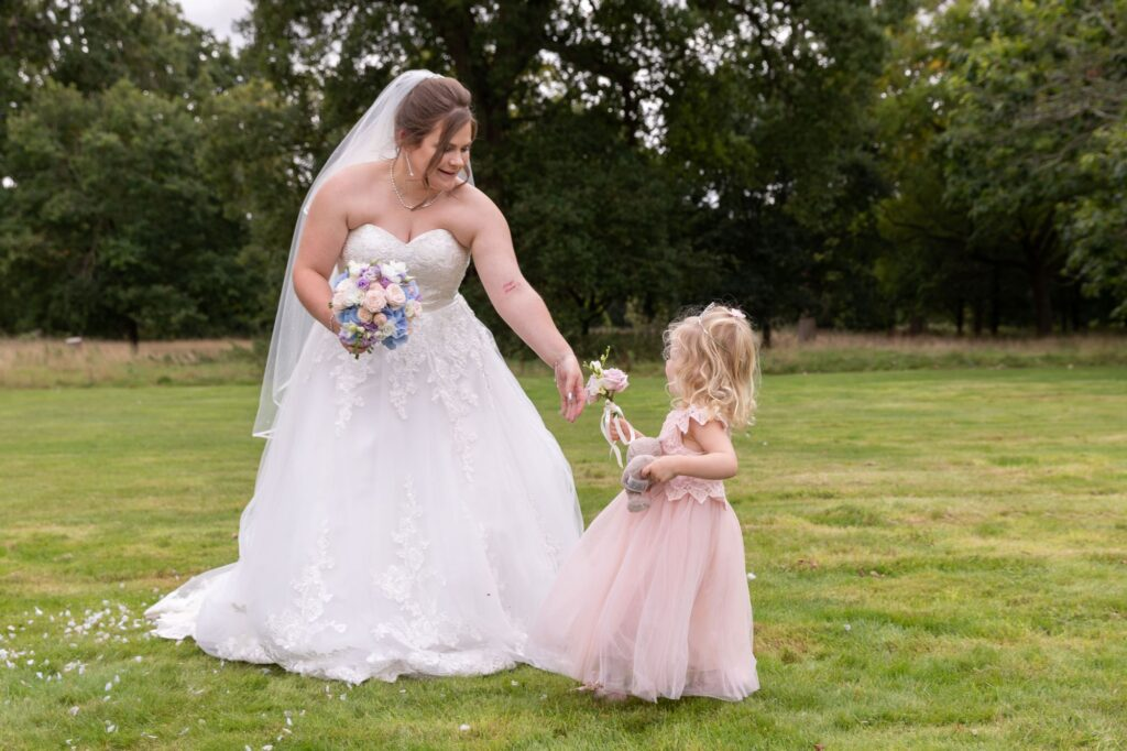bride flower girl milton hill house gardens steventon oxford wedding photography