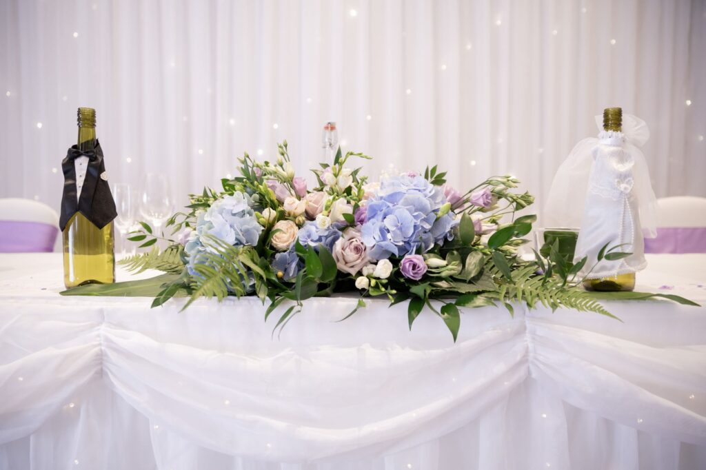 reception floral table decorations milton hill house steventon oxfordshire wedding photographer