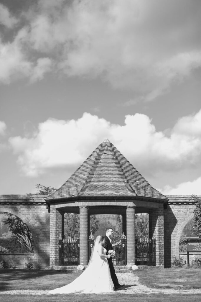 bride groom stroll gardens milton hill house steventon oxfordshire wedding photography