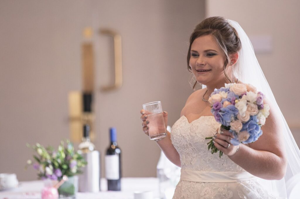 bride enters milton hill house reception dinner steventon oxfordshire wedding photographer