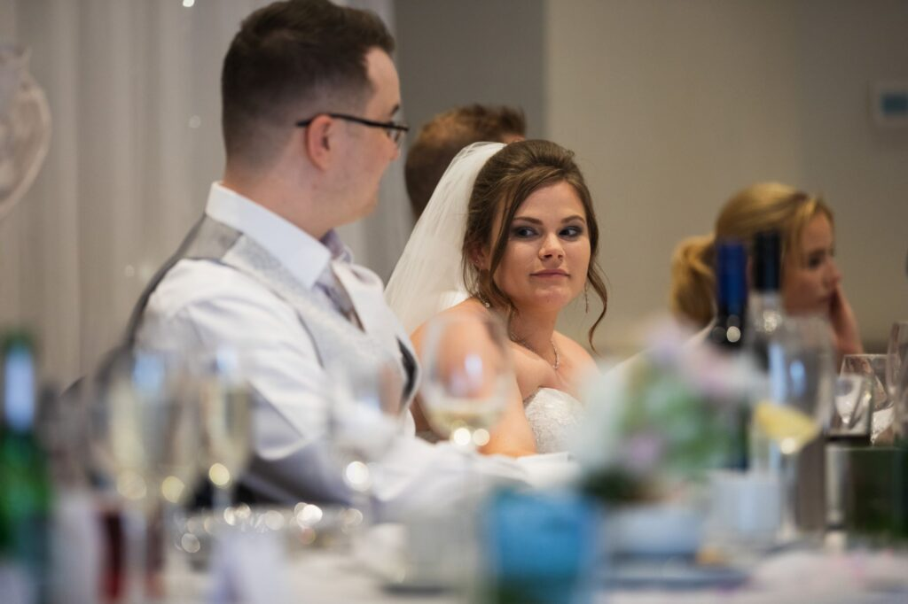 pensive bride hears emotive speech milton hill house steventon oxfordshire wedding photographers