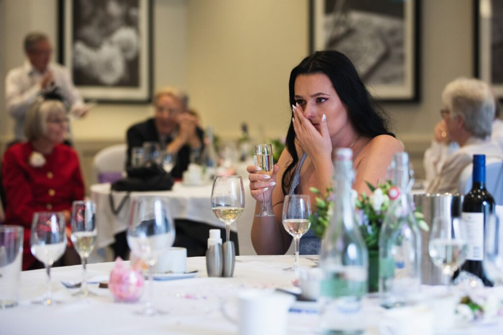 tearful bridesmaid hear emotive speech milton hill house steventon oxford wedding photographers