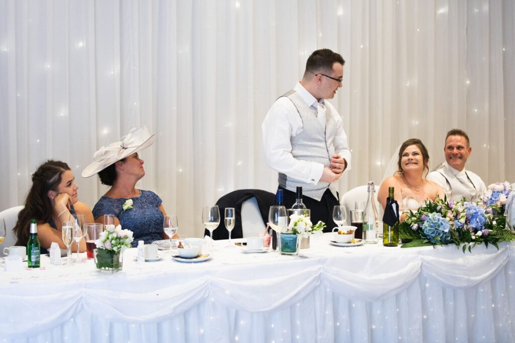 grooms top table speech milton hill house reception steventon oxford wedding photographer
