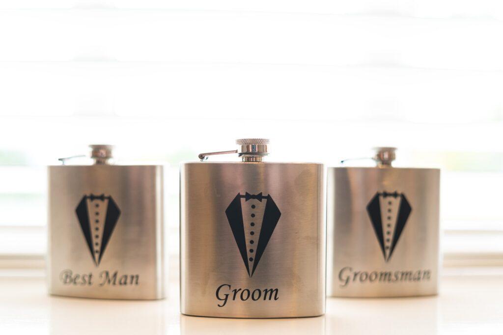 groomsmen flasks groom prep cain manor hampshire surrey border oxfordshire wedding photography