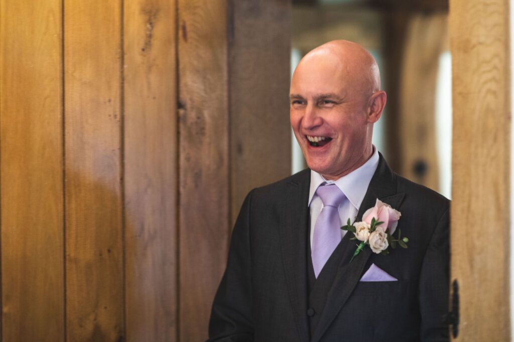father of bride first look bridal prep cain manor surrey oxford wedding photographers