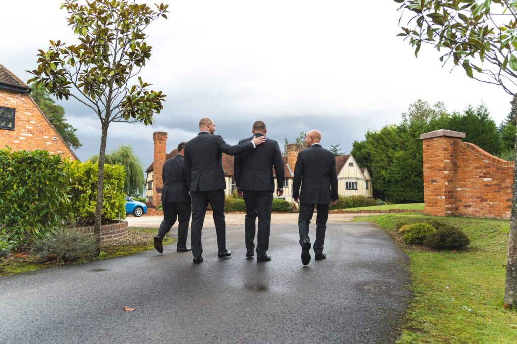 grooms party arrive cain manor ceremony surrey oxford wedding photography
