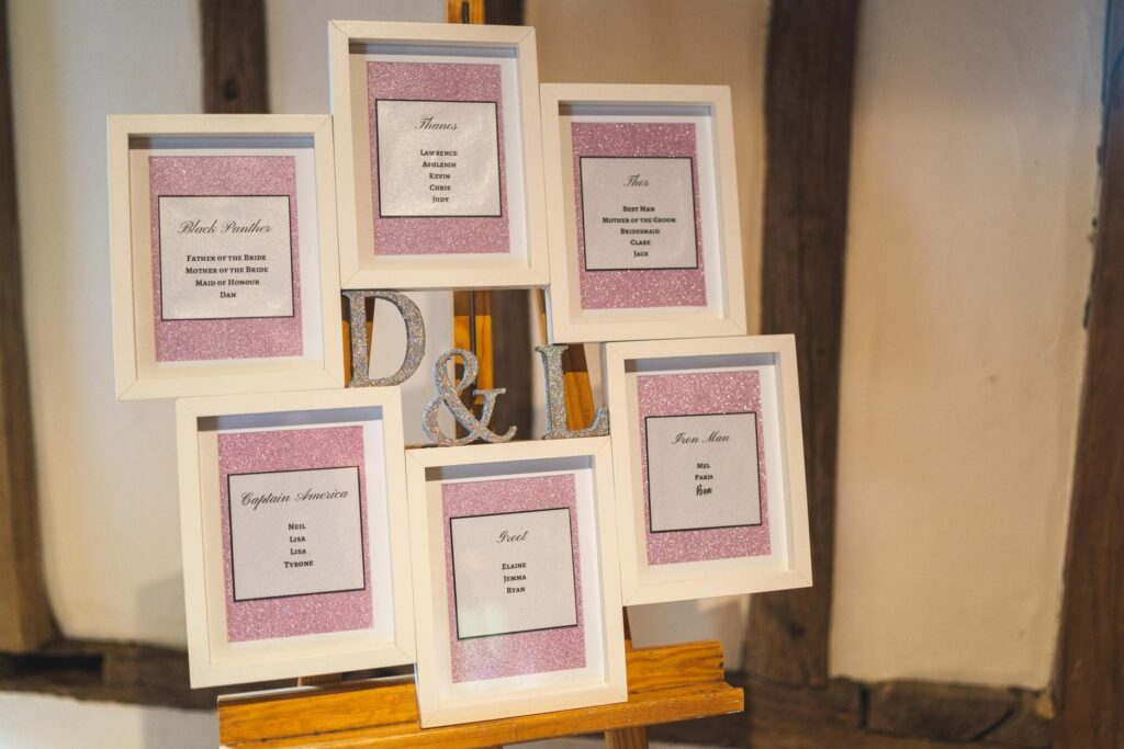 wedding breakfast table plan cain manor surrey oxford wedding photographers