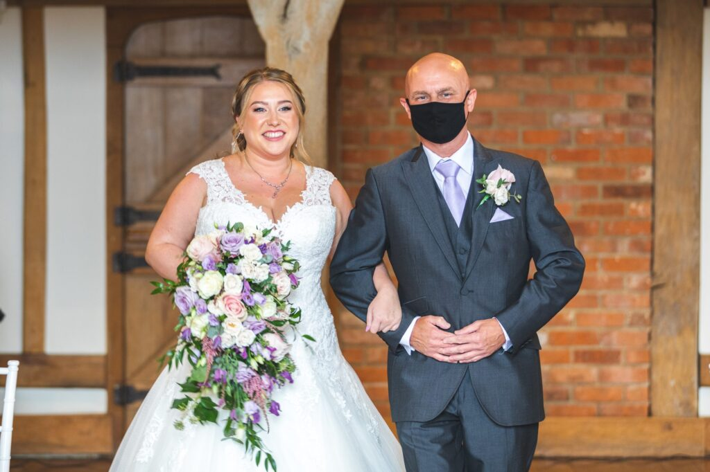 bride father of bride aisle walk cain manor marriage ceremony surrey oxfordshire wedding photographers