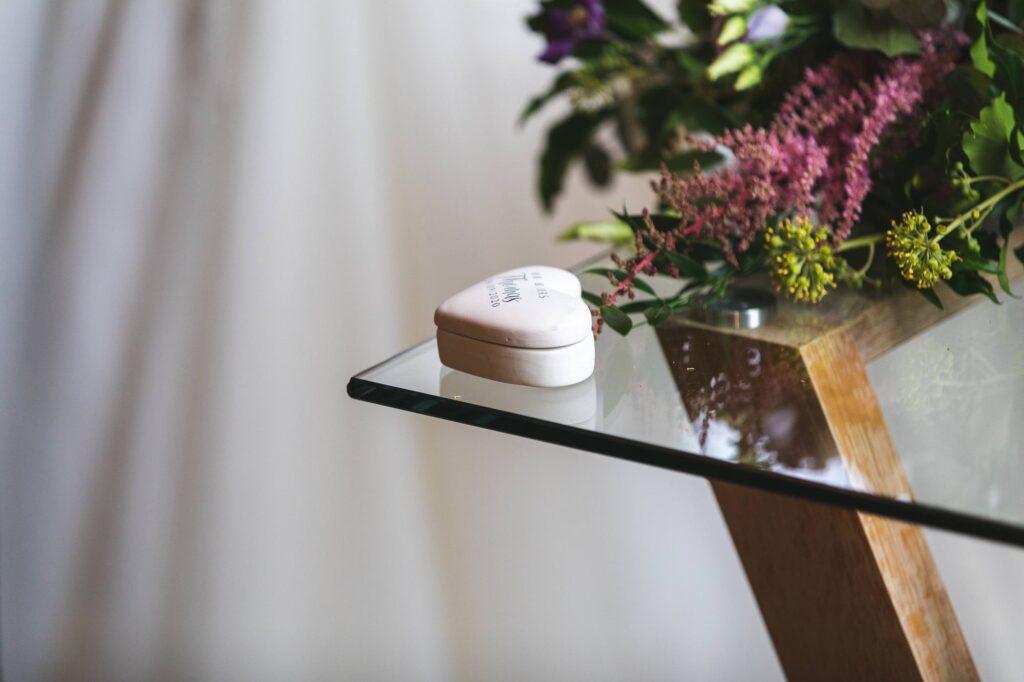 heart shaped ring box cain manor marriage ceremony surrey oxfordshire wedding photographers