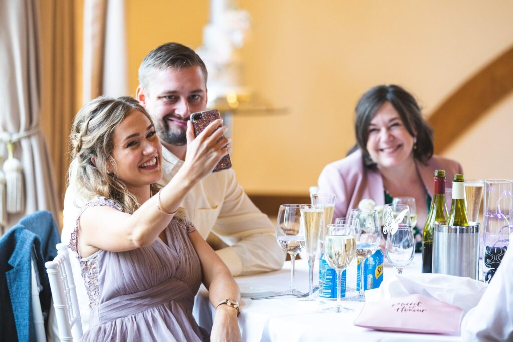 bridesmaids selfie cain manor reception hampshire surrey borders oxfordshire wedding photography