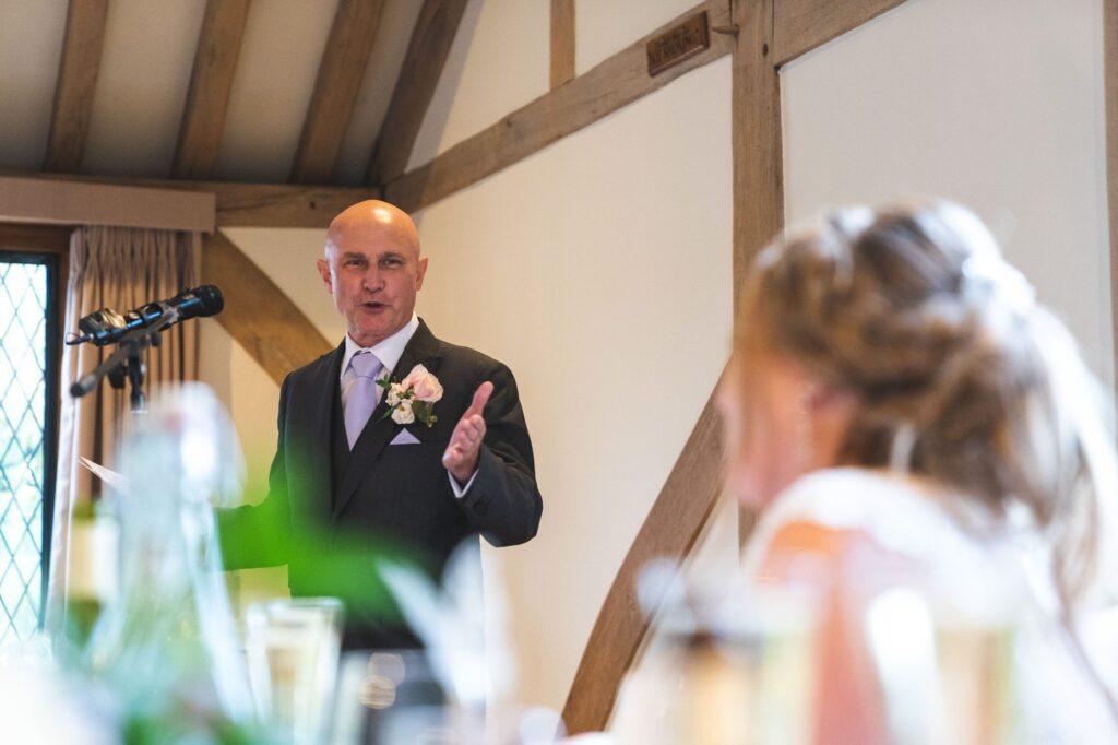 father of brides speech addresses bride cain manor surrey oxford wedding photography