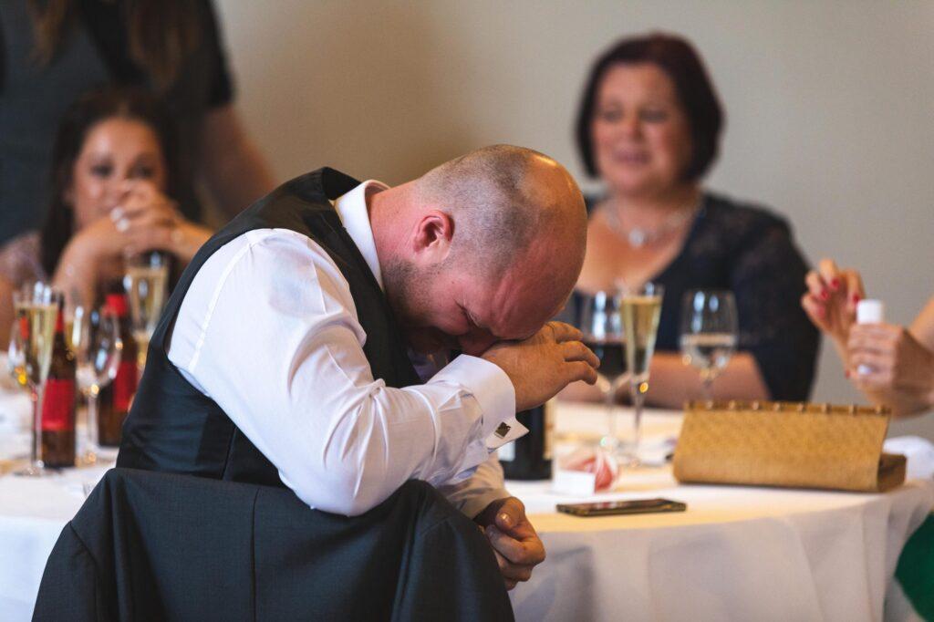 tearful guest hears reception speech cain manor hampshire surrey borders oxfordshire wedding photographers