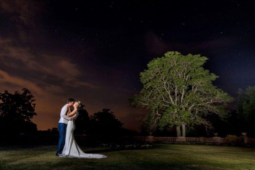 twilight moment elvetham estate grounds hampshire s r urwin wedding photography oxford