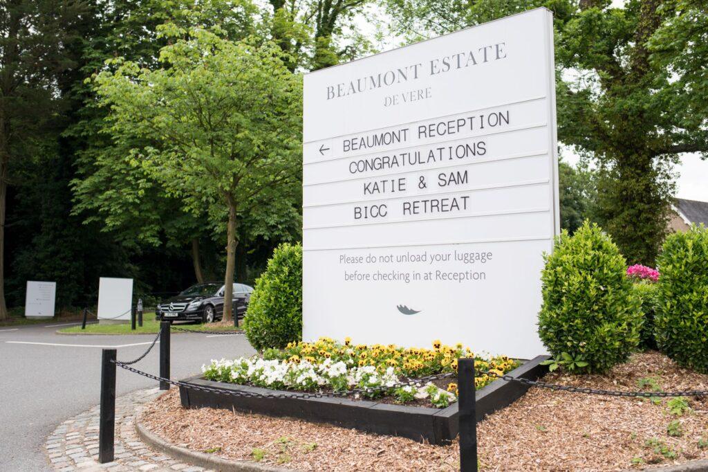 entrance signage de vere beaurmont hotel windsor oxford wedding photographer