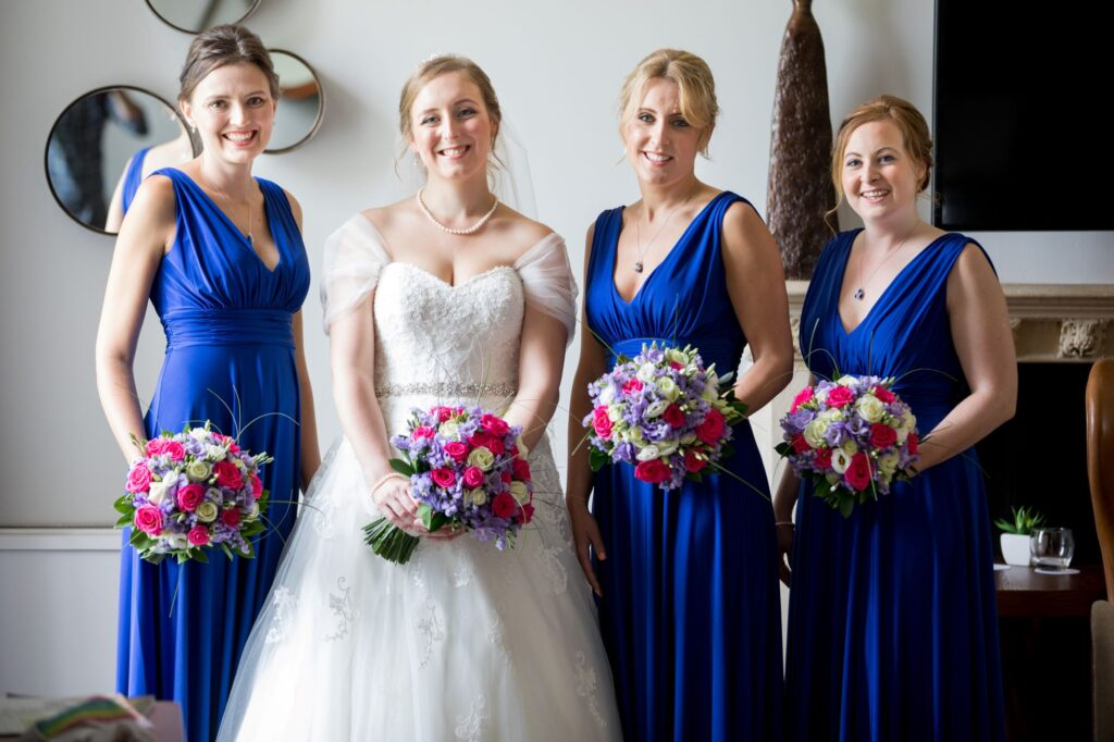 bride bridesmaids floral bouquets de vere beaumont hotel windsor oxford wedding photographer