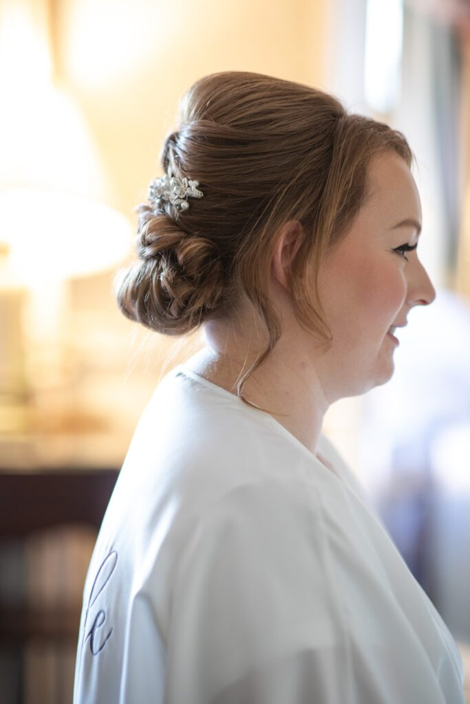 brides hairstyle bridal preparation hanbury manor ware hertfordshire oxford wedding photographers