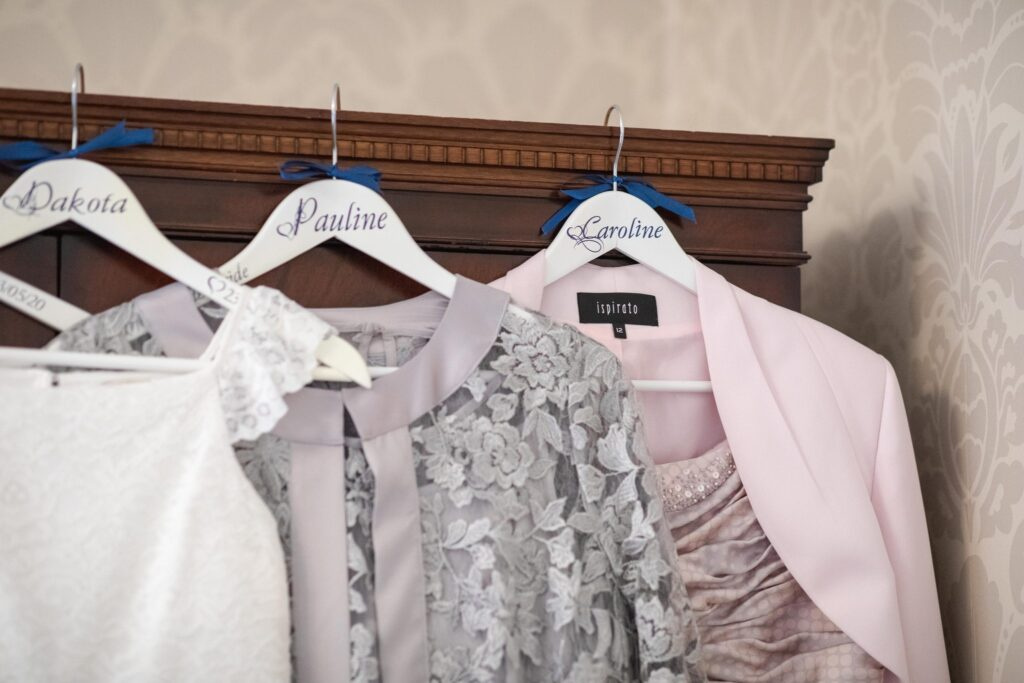 bridal party named dress hangers bridal prep hanbury manor ware hertfordshire oxfordshire wedding photographers